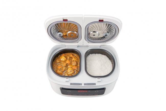やばい。天才か >炊飯+煮込み+蒸し料理を同時にできる新機軸の調理家電を発表 一度に最大4品ほったらかし調理!毎日の食卓がラク~に充実。1台でご飯とおかずが同時にできる自動調理鍋「ツインシェフ」発売