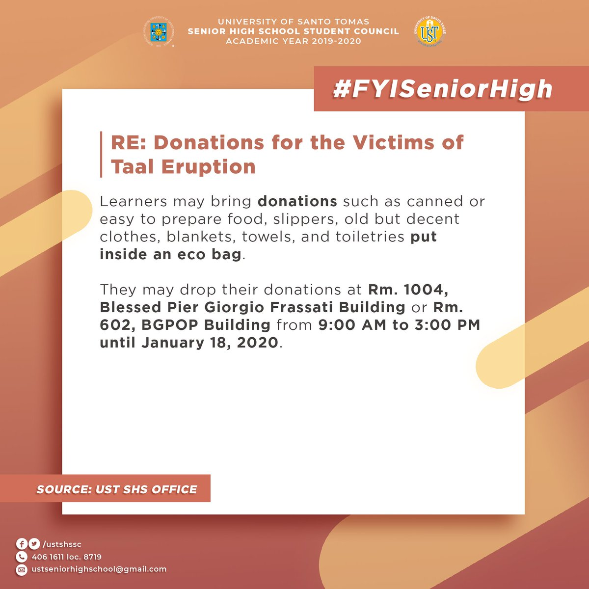 #FYISeniorHigh RE: Donations for the Victims of Taal Eruption Please be guided accordingly.
