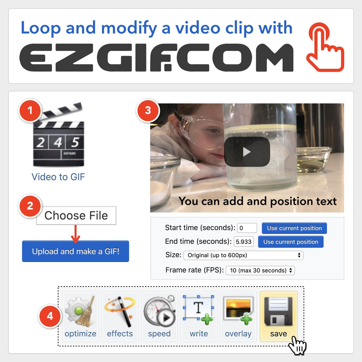 Turn a video clip into a looping animation by uploading it to  http:// ezgif.com    . You can choose start and end times, add effects, change speed, write text, overlay images, and optimize the file size before saving as a .gif file. #FETC <br>http://pic.twitter.com/Y1QGbpe7wg