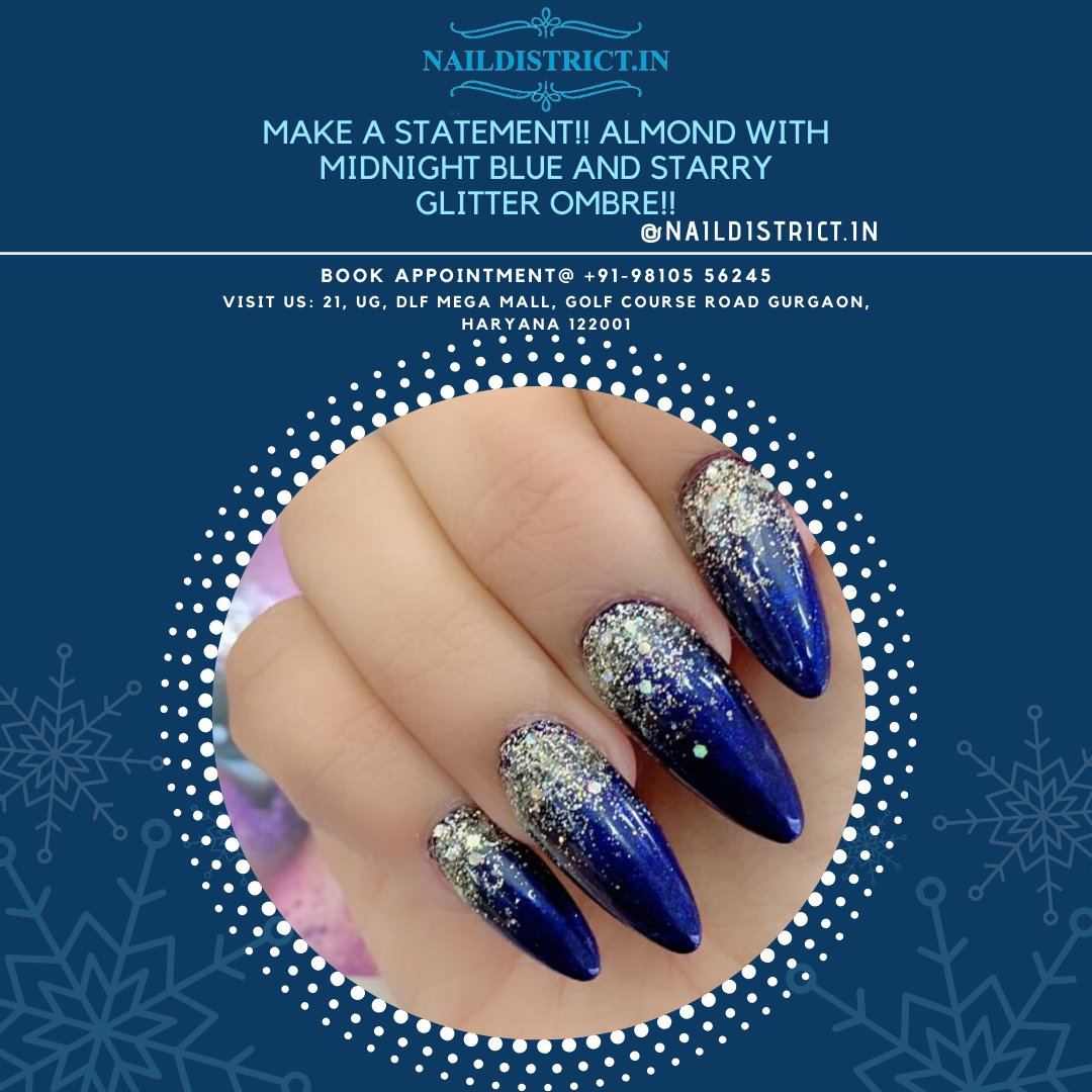 MAKE A STATEMENT!!  ALMOND WITH MIDNIGHT BLUE AND STARRY GLITTER OMBRE!! http://NailDistrict.in Book Appointment @ +91-98105 56245  Visit Us: 21,UG,DLF Mega Mall,Golf Course Road, Gurgaon ,122001  #nailsalon #gurgaon #nailart #naildesigns #naildistrict #beautiful #nails #rightpic.twitter.com/65qGNiKvAc