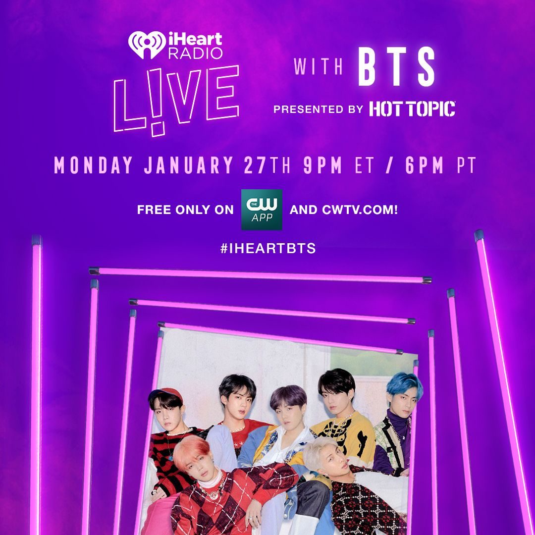 Thank you #iHeartAwards for #BestFanARMY nomination!!! We can't wait to see everyone for #iHeartBTS LIVE on 1/27! Tune in at 9pm ET / 6pm PT.💜