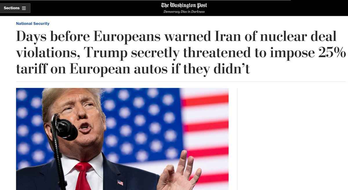 """Iran says Europeans of """"sold out"""" nuclear deal under Trump's auto tariff threat"""