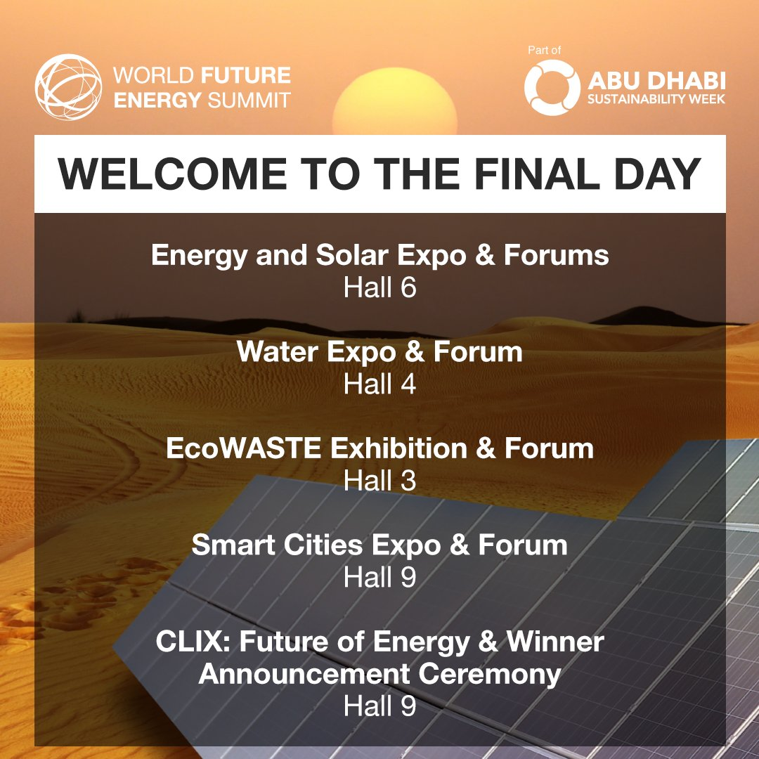 It's the final day of the World Future Energy Summit 2020! There is still time to visit exhibitors, check out the forums and see where the next decade in the business of sustainability will take us. Register now for fast track access. 13 - 16 Jan, ADNEC, Abu Dhabi  #WFES #ADSW<br>http://pic.twitter.com/E52tSJUlnD