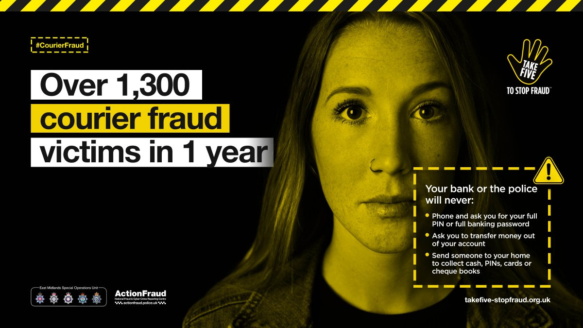 Unsure whether someone on the phone claiming to be your bank or police is genuine? Hang up, wait a minute, then call your bank/police on a known number to verify their identity. For more info: takefive-stopfraud.org.uk/advice/ #CourierFraud