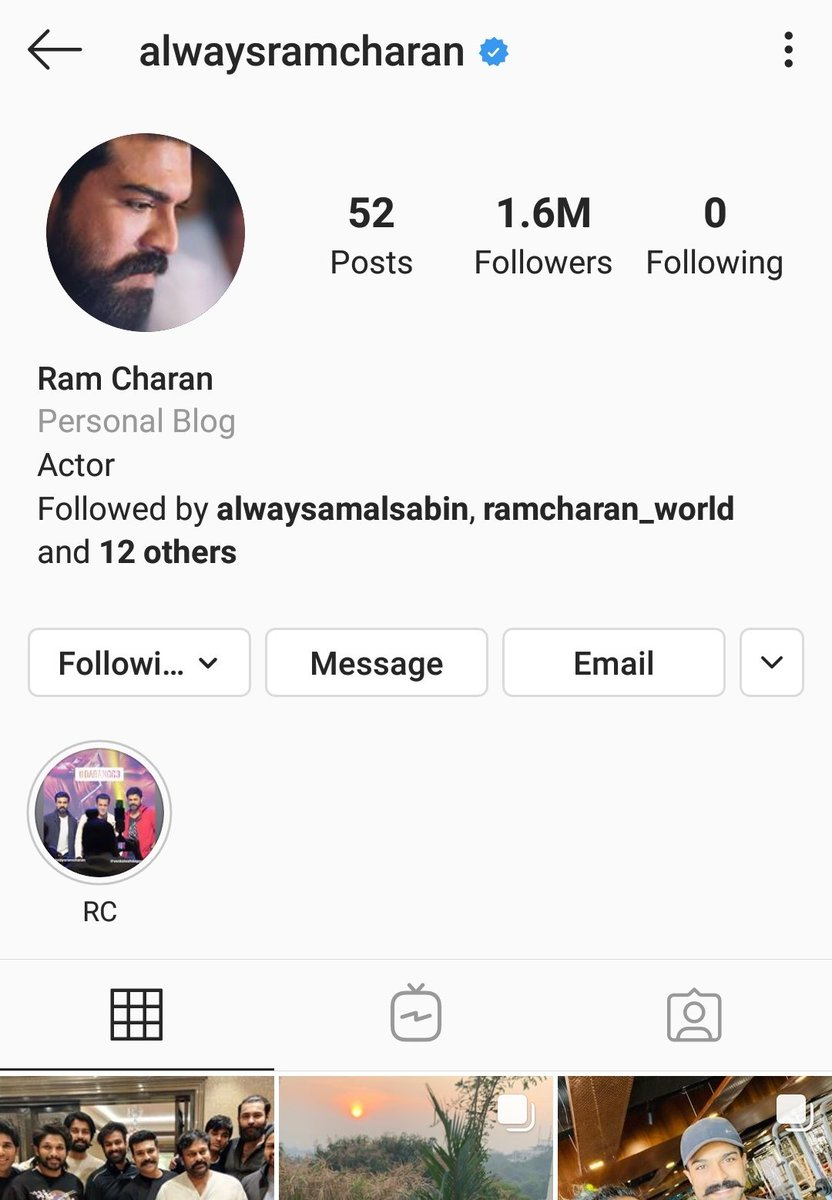 #RamCharan's Insta Reached  1.6 Million Followers... !!! #SeethaRAMaRajuCHARAN #RRRMovie #RamCharan pic.twitter.com/GtTnsWlkwR