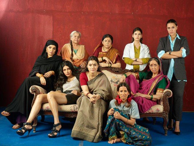 #Kajol, #ShrutiHaasan, #NehaDhupia, #NeenaKulkarni, #MuktaBarve, #SandhyaMhatre, #RamaJoshi, #ShivaniRaghuvanshi and #YashaswiniDayama. #FirstLook of short film #Devi. Directed by Priyanka Banerjee. Produced by Electric Apples Entertainment for Large Short Films.pic.twitter.com/28UZ5Tz9qm