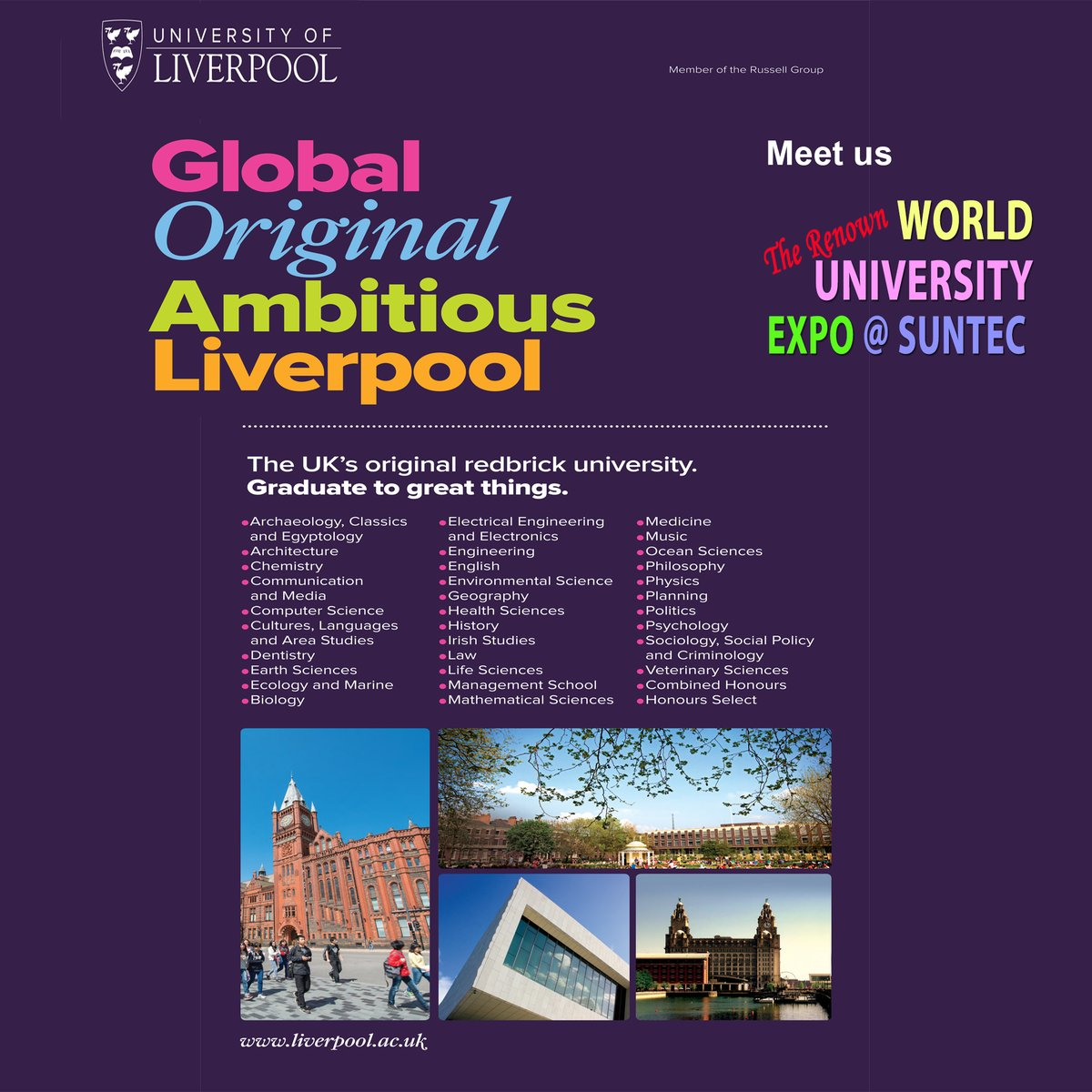 Meet Uni of Liverpool at WorldUniExpo on Fri 17 Jan 3-9pm at Suntec Level 3 Concourse. Degree in Criminology, Architecture, HealthScience, Aviation, Occ Therapy, etc. Visit http://Liverpool.OverseasEducation.sg or Call 61009800 for more info. Rmb to bring your results for free applications!!pic.twitter.com/A8hyL56ehZ