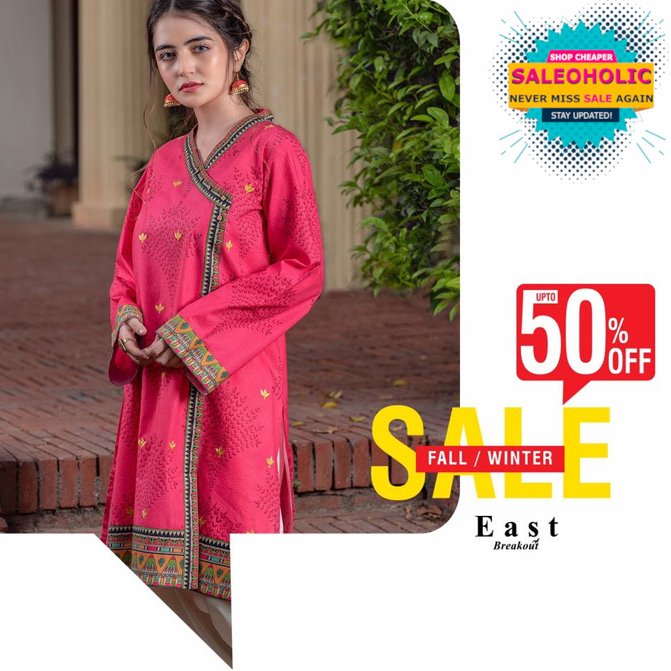 East Breakouts fall/winter upto 50% SALE is now in stores. Visit us now!  #eastbreakout #saleoholic #saleoholicdiscount #saloholicupdate #summersale #shoppinglover #wintersale #saleonNOW #brandedclothes #womenclothes #WomenClothingStore #womenshop #pret #readymade #tailored