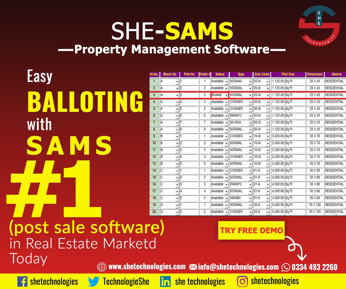 Easy balloting with SAMS. The system has the functionality of Pre Sale, Post-sale and Re-Sale of files/Plots by keeping the following information. Full history record of Transfers, Purchased and Re-Sale. Different Pre Sale, Post-sale, Re-Sale and Payment Schedule.pic.twitter.com/17QJZgRXIw