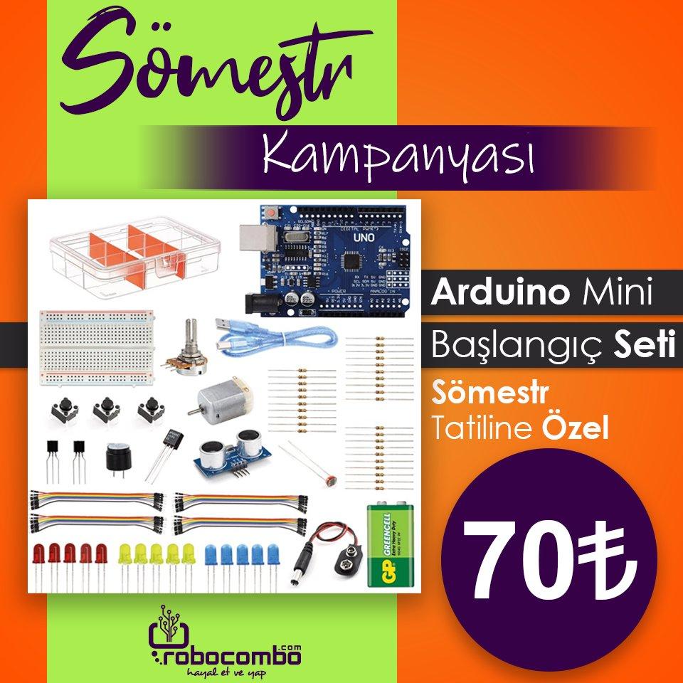 """EFSANE Üründe ÖZEL Fiyat  """"Arduino Mini Başlangıç Seti"""" Sömestr Özel  Fiyatı İle http://Robocombo.com'da!  http://www.robocombo.com/arduino-mini-baslangic-seti…  #karnehediyesi #karnegünü #mekatronik #maker #mekatronikmuhendisligi #arduino #robocombocom #hayaletveyap #robocombo  #arduinoset  #robotpic.twitter.com/lCQLdGB31K"""