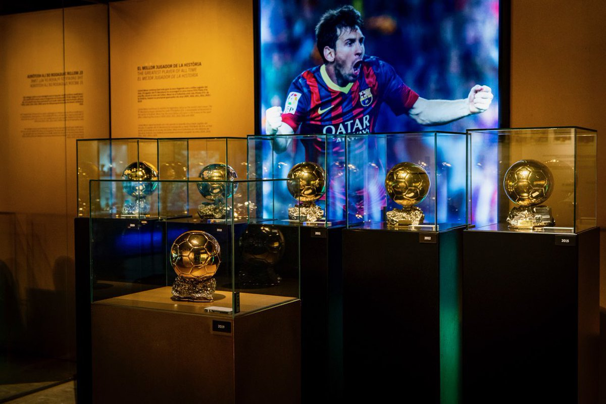 The 6th Ballon d'Or of Leo  #Messi  is now on display in the Barça Museum