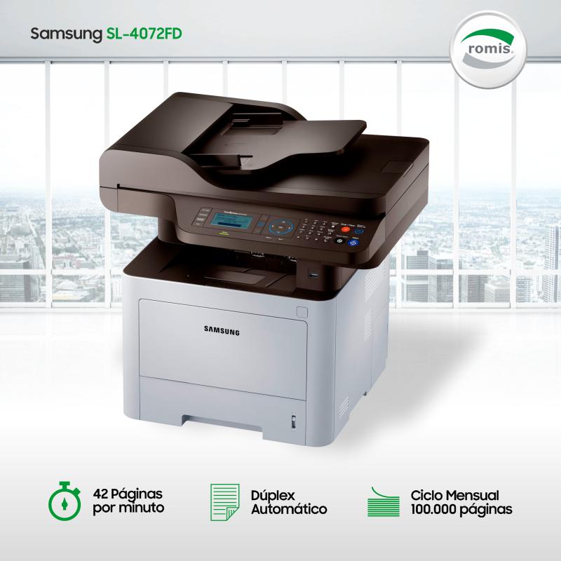 Impresora láser monocromo #Samsung SL-M4072FD. Velocidad 42ppm / Dúplex automático / Ciclo mensual 100.000 copias / Platina oficio / Toner de 15.000 copias (Inicial 3.000). La mejor solución en impresión y ahorro para empresas. https://t.co/6mLRb2YKUm