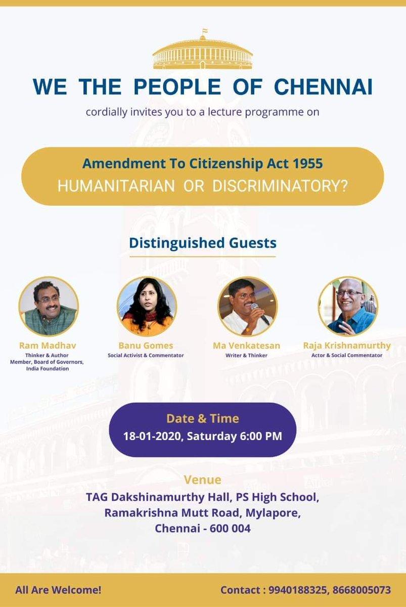"All chennai friends, Do join session on ""Amendment To Citizenship Act"" by Shri @rammadhavbjp ji on 18th Jan (5:00 PM).pic.twitter.com/nRTAvvBRQQ"
