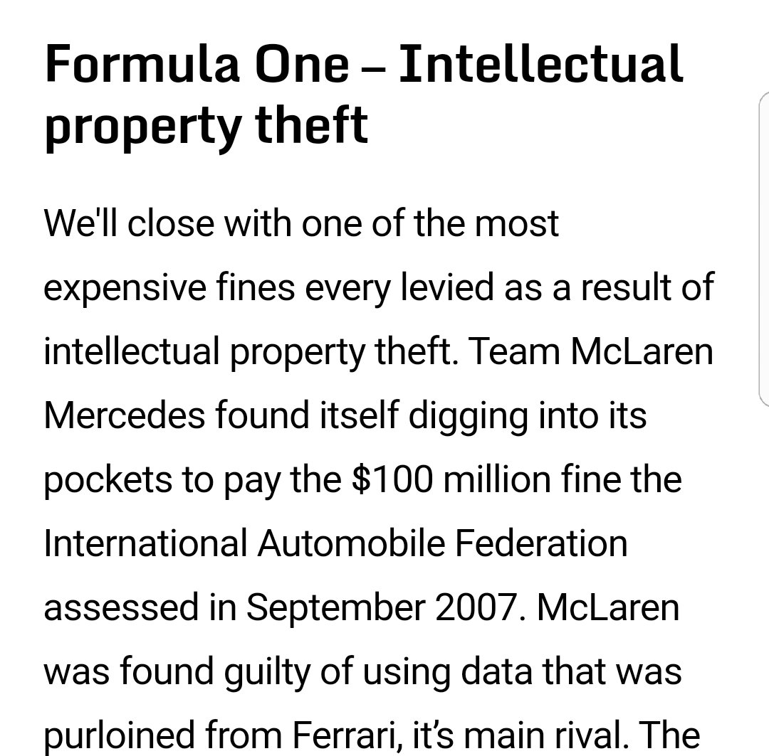 2.  Seen before.  The best example and keeping in line with sport itself is from Formula 1. In 2007, McLaren were fined $100m for the theft of data, which you could argue has had huge immplications to their modern day racing outfit. pic.twitter.com/AVFORXQdOr