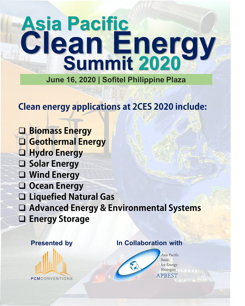 Clean energy applications at 2CES 2020 include:   Biomass Energy Geothermal Energy Hydro Energy Solar Energy  Wind Energy Ocean Energy Liquefied Natural Gas Advanced Energy & Environmental Systems Energy Storage  … and more!  #cleanenergy #energysummit #pcmasia #apbest #2CESpic.twitter.com/lnkBxqhCxl
