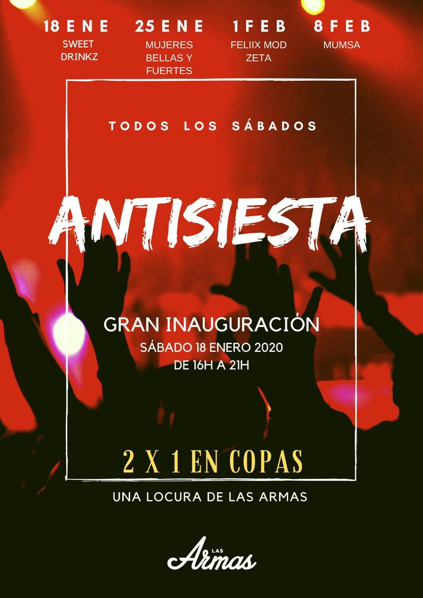 ANTISIESTA - 2X 1 EN COPAS - SWEET DRINKZ DJ - SE VIENE LIADA LOS SÁBADOS https://t.co/pRulJ8js3O