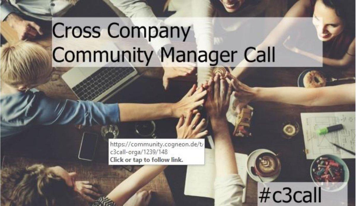 Heute um 16 Uhr findet der 4. #C3Call für #CommunityManager statt. Es geht u.a. um Trends im #CommunityManagement. Unsere Vorsitzende @TanjaOnTour ist auch dabei.  Teilnahme via Zoom: https://zoom.us/j/263701626?status=success…