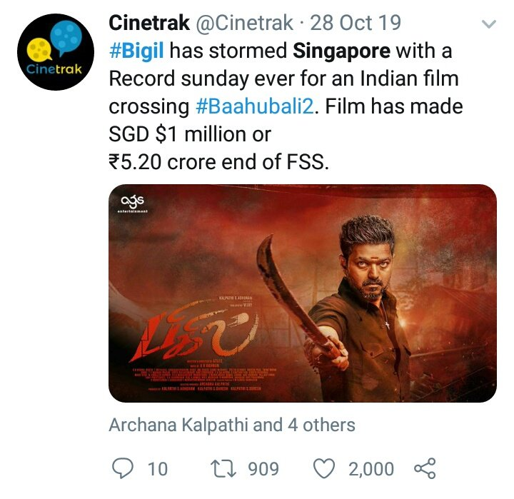 Singapore BOXOFFICE :  #Bigil (3 Days)  SGD 1 Million   #Darbar (7 Days)  SGD 1 MILLION  Singapore BO   Vijay : No1  Rajini : No 2<br>http://pic.twitter.com/wsMrJFmi2g