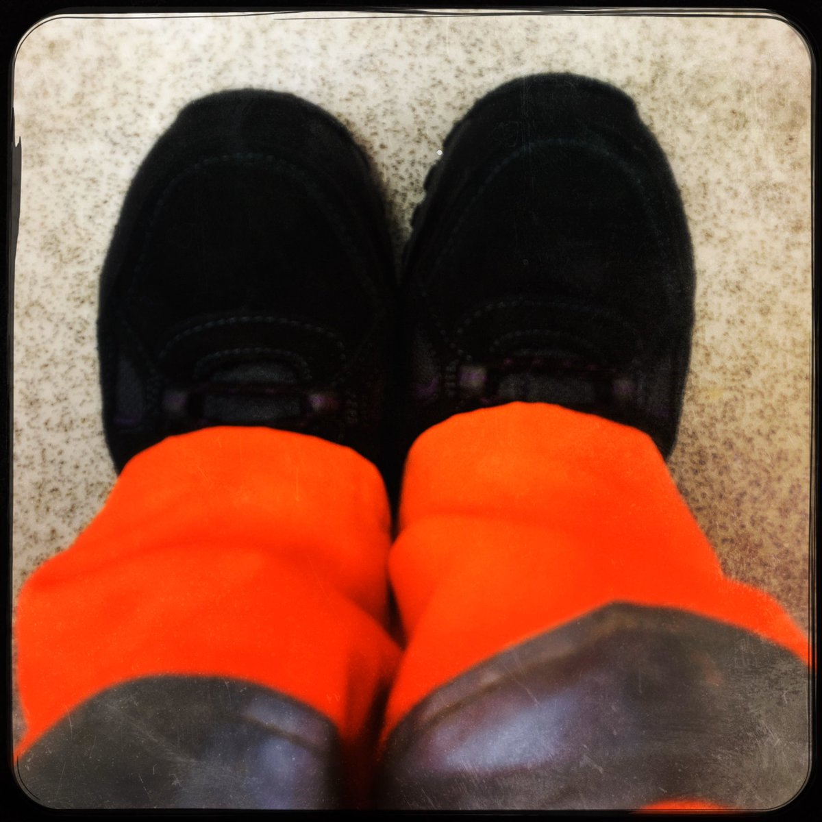 Today I will mostly be in high vis orange. I would say top to toe, but that's not entirely accurate as my toes are encased in steel...