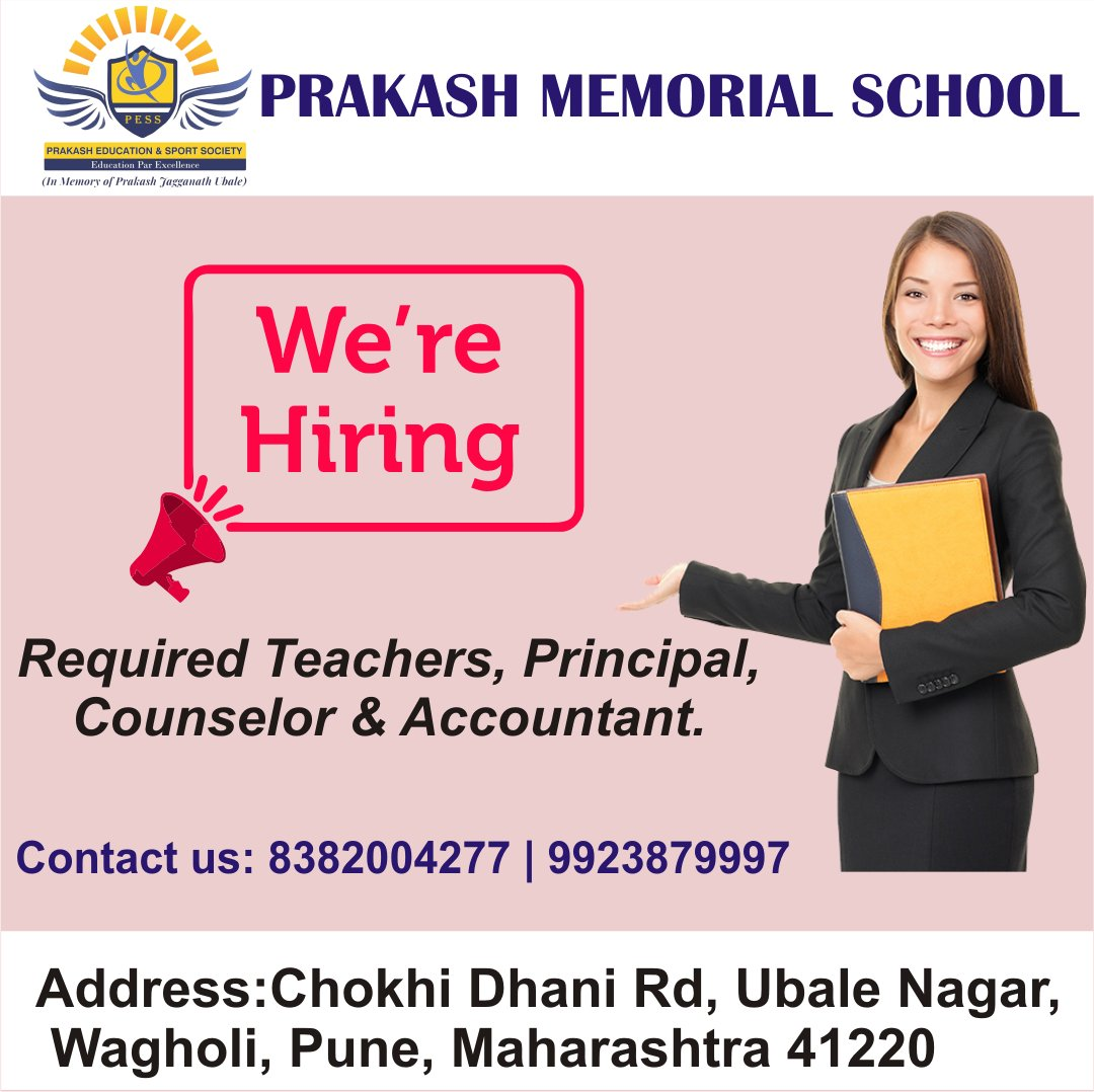 Call: 8382004277 | 9923879997.Address: Chokhi Dhani Rd, Ubale Nagar, Wagholi, Pune, Maharashtra 412207.#bestteacher #teaching #teachingidea #teachervacany #education #teacherjob #jobopening #counselor #accountant