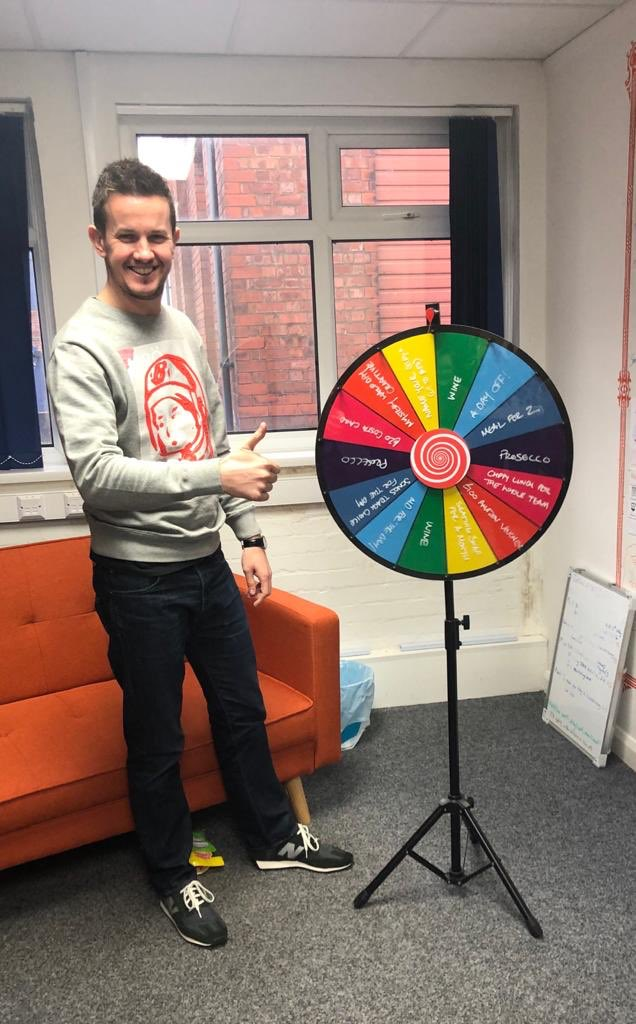 Head of Design, Adam wins employee of the month for December & landed on a day off on the spinning wheel! One of our colleagues posted that there hadn't been a day where Adam hadn't made them laugh which is so lovely to hear! #teamaboveeverything #employeeappreciation<br>http://pic.twitter.com/v2VA0aoG2I