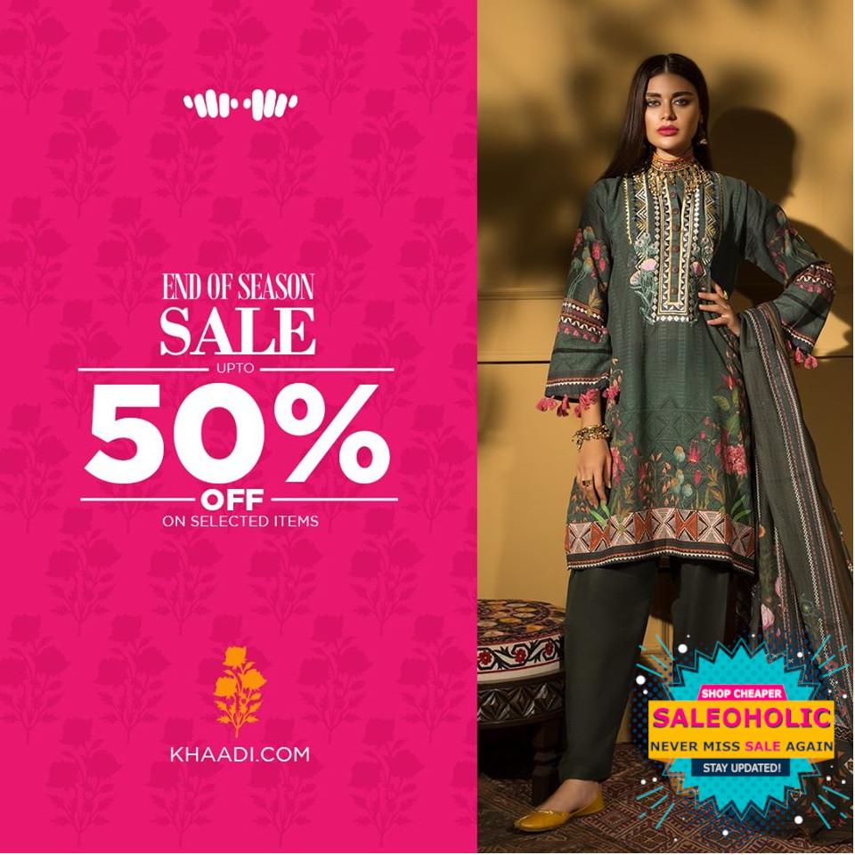 Khaadi's END OF SEASON SALE is Live! Shop till you drop and select from our Unstitched outfits now at up to 50% OFF in stores and online Offer valid while stocks last. #EndOfSeasonSale #KhaadiSale #Khaadi #saleoholic #saleoholicdiscount #saloholicupdate #summersale #shoppinglover