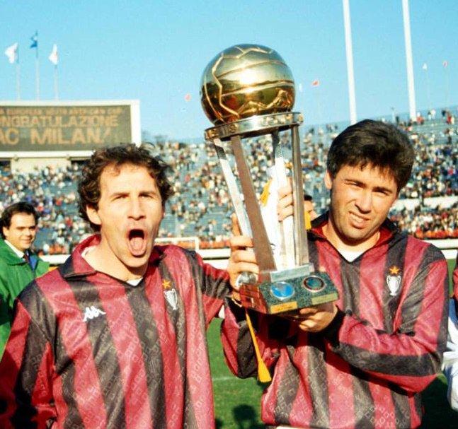 90s Football On Twitter Franco Baresi And Carlo Ancelotti 1990