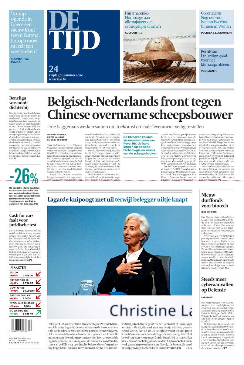 test Twitter Media - Vandaag op de voorpagina van De Tijd:  Belgisch-Nederlands front tegen Chinese overname scheepsbouwer | Lagarde knipoogt met uil terwijl belegger uiltje knapt  Lees de krant op uw smartphone of tablet: https://t.co/x779tlHDcC https://t.co/3ITRW9AYJK