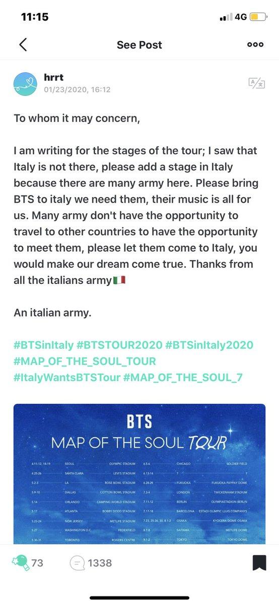 #ItalyWantsBTSTour