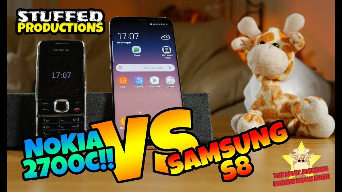 #43 Samsung Galaxy S8 vs Nokia 2700c - Mobile Phone Comparison - The Most Awesome Review Show Ever!   #Comedy #Comparison #Entertainment #Funny #Giraffe #Lol #Nokia #Phone #Plush #Plushies #Review #ReviewVideo #Samsung #Silly