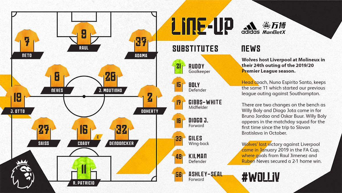 Here is how Wolves line up for tonight's @premierleague clash with @LFC.  #WOLLIV  <br>http://pic.twitter.com/6uHvQ2ieie