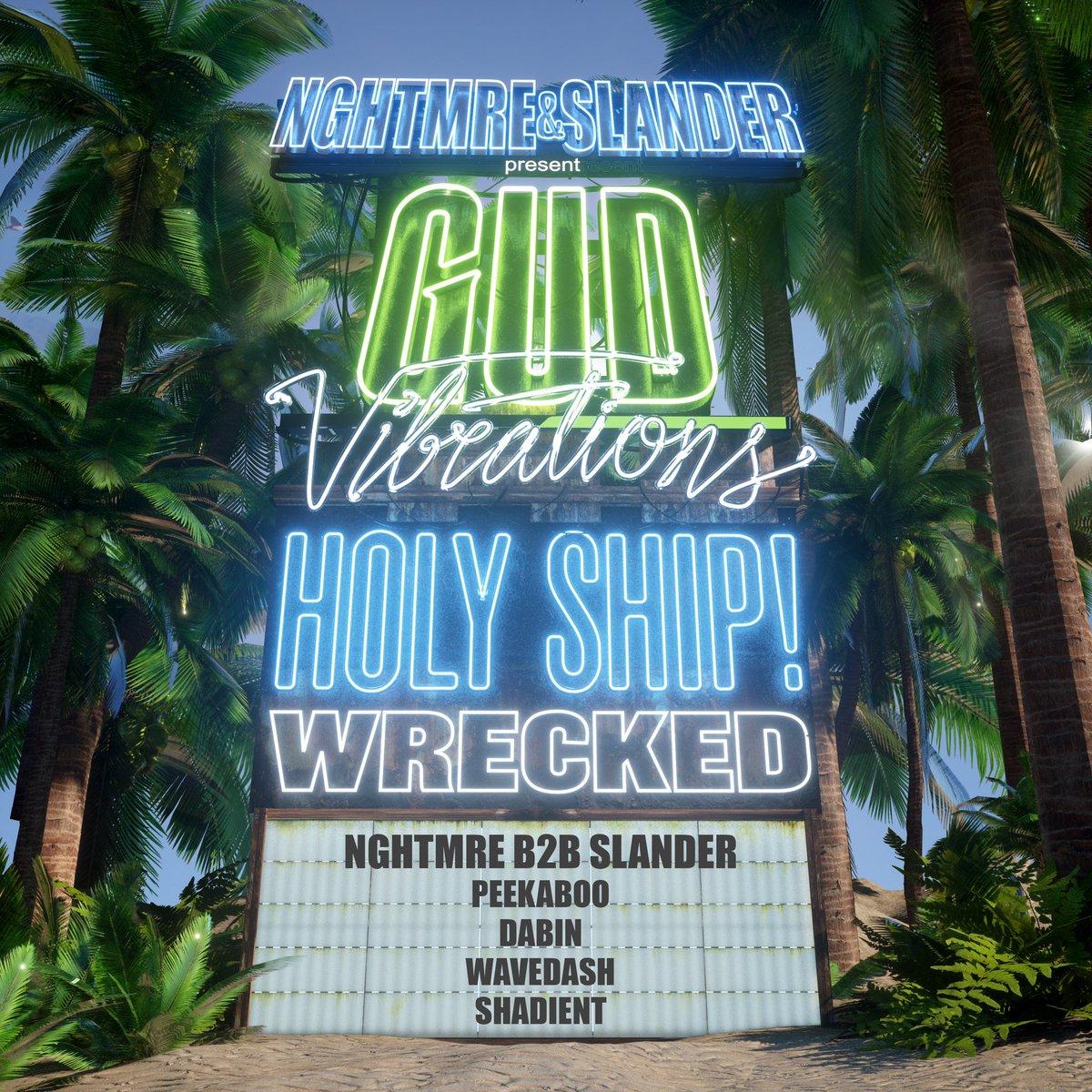 GV Beach Party today at @HOLY_SHIP! @NGHTMRE @SlanderOfficial @peekaboobeats @iamdabinlee @wearewavedash @shadient
