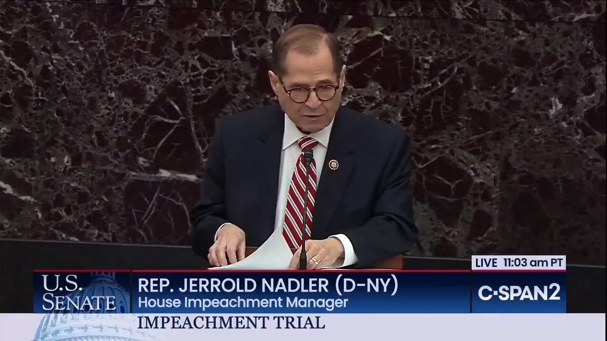 """The President's abuse of power, betrayal of the national interest, and corruption of our elections plainly qualify as great and dangerous offenses. President Trump has made clear that he will persist in such conduct if he is not removed from power."" - @RepJerryNadler"