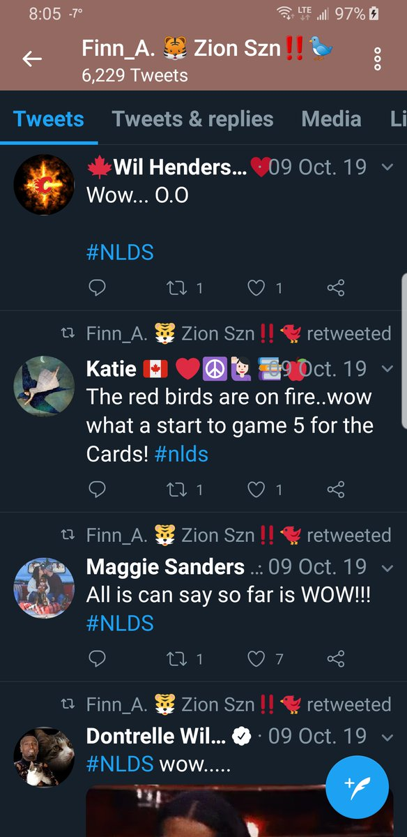 .So I went by their page and for some reason theyre  retweeting any tweet they can find posted on October 9, 2019 and having to do with the National League Divisional Series  #NLDS 🤔  #TwitterIsWeird