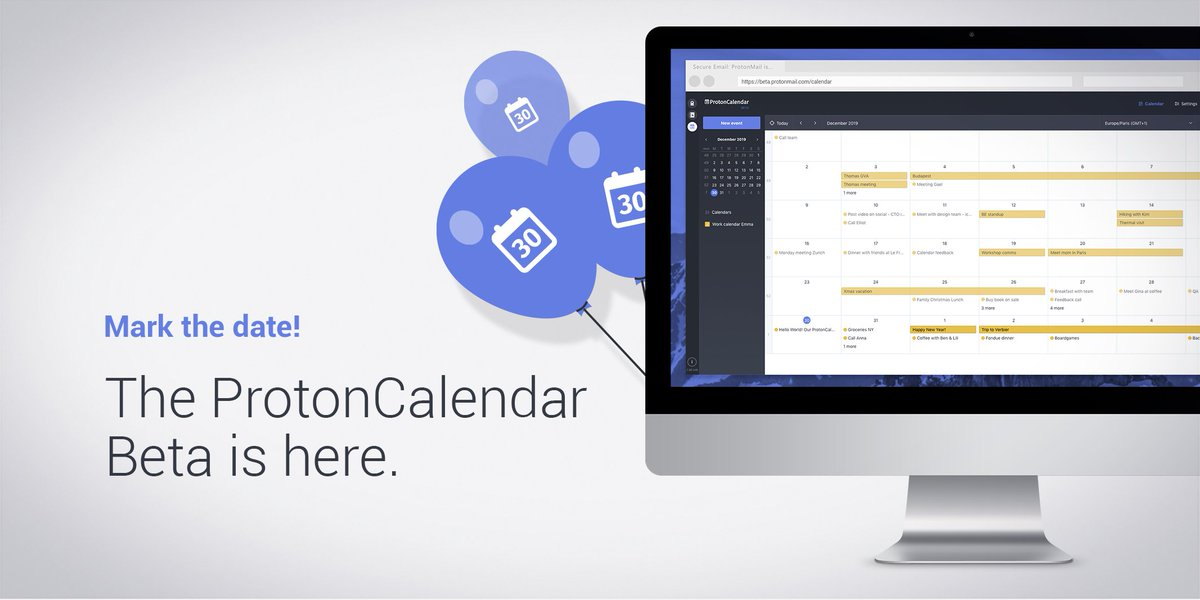 ICYMI: ProtonCalendar, the first fully encrypted calendar app, is now in beta! Here's how to try it out: https://protonmail.com/blog/protoncalendar-beta-announcement/?utm_campaign=ww-en-cal-coms_com-calendar&utm_source=twitter.com&utm_medium=link&utm_content=calendar_repost&utm_term=tw_post_1 …