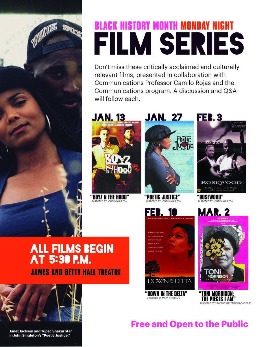 "See ""Poetic Justice,"" a film directed by John Singleton, as part of the Black History Month film series on Monday, January 27 at 5:30 p.m. in the James and Betty Hall Theatre. Discussion and Q&A will follow."