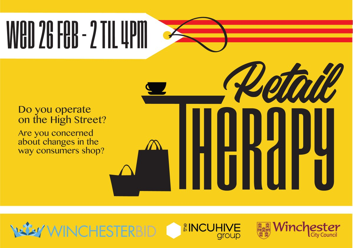 IncuHive are running a two hour 'Retail Therapy' workshop on the 26th of February from 2-4pm. This is for people working on the high street who might be worried about the climate ahead, to share ideas with each other, find solutions and hear from experts.https://t.co/ftIZcg7U1O
