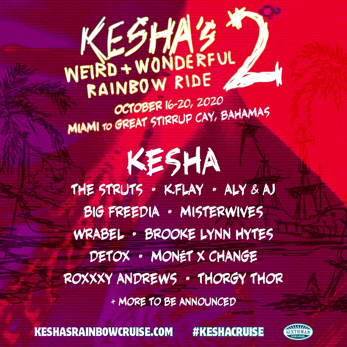 Sooooo excited for this!!! Get your tickets at KeshasRainbowCruise.com @KeshaRose @TheOnlyDetox @monetxchange @RoxxxyAndrews @ThorgyThor @bigfreedia @alyandaj @kflay @MisterWives @TheStruts