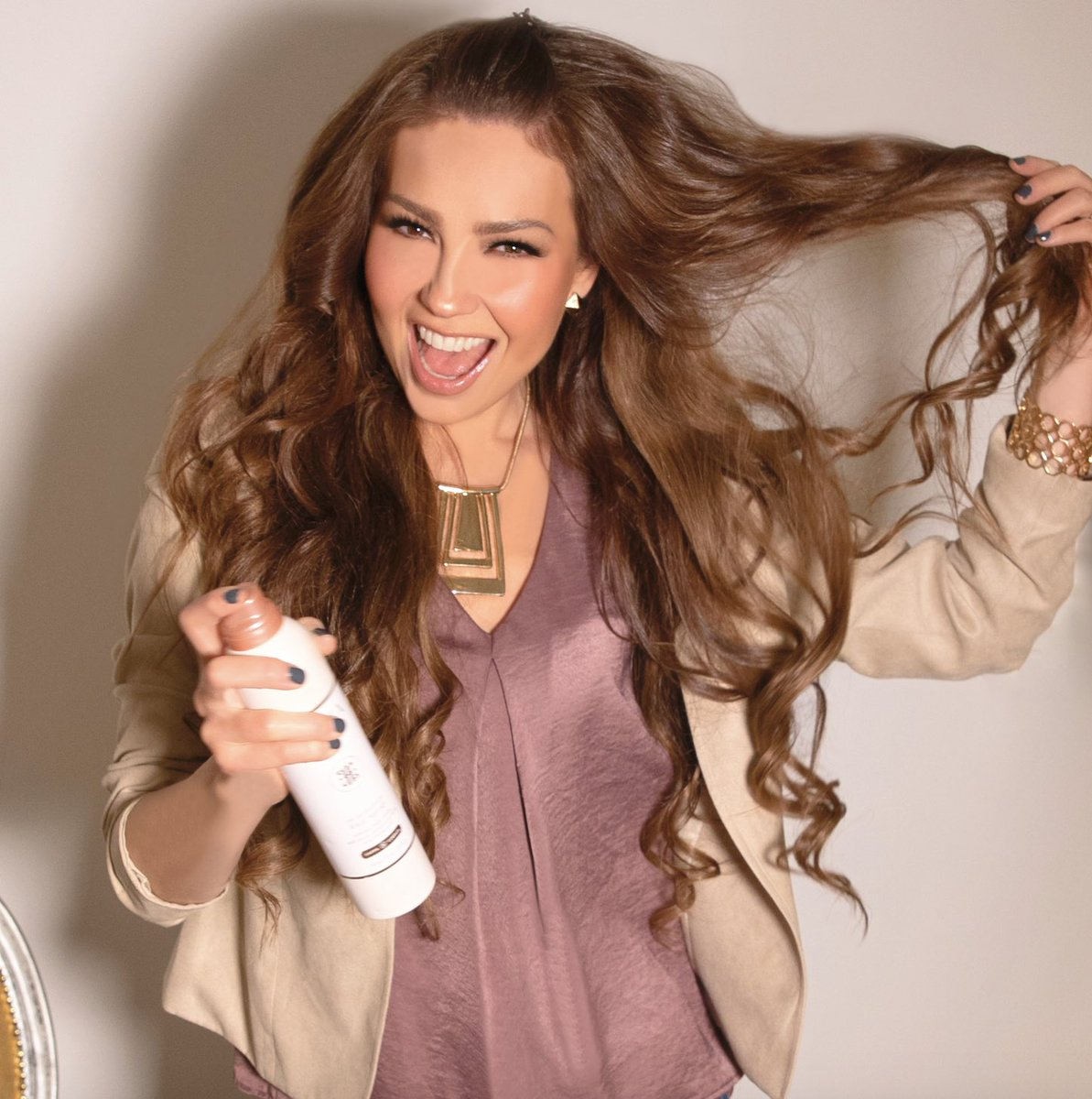 """The more volume, the better! """"The Perfectionist"""" #Hair Spray, locks in my curls all day and adds more """"bounce"""" to my 'do! Shop my hair care line #AdriaByThalia at @Walmart and give your hair the love it deserves. #HairCare #HairLove #HairProducts #Volume #Curls #walmartfinds<br>http://pic.twitter.com/aphP1WeUPI"""