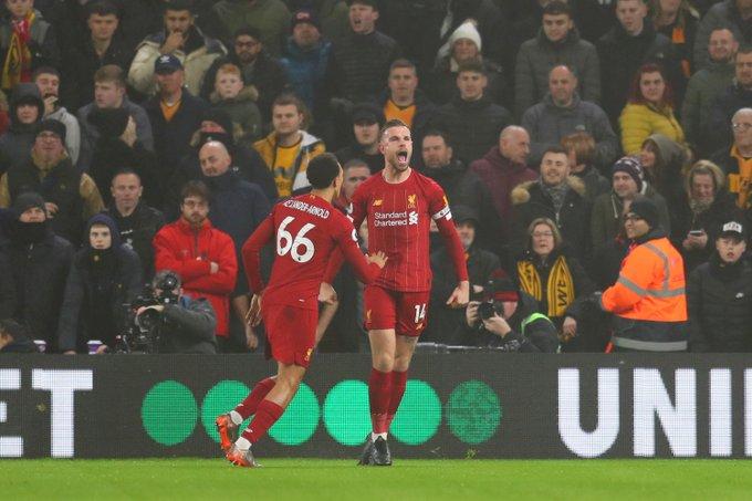 Ekspresi gelandang Jordan Henderson usai mencetak gol pembuka bagi Liverpool. (Twitter/@OptaJoe)