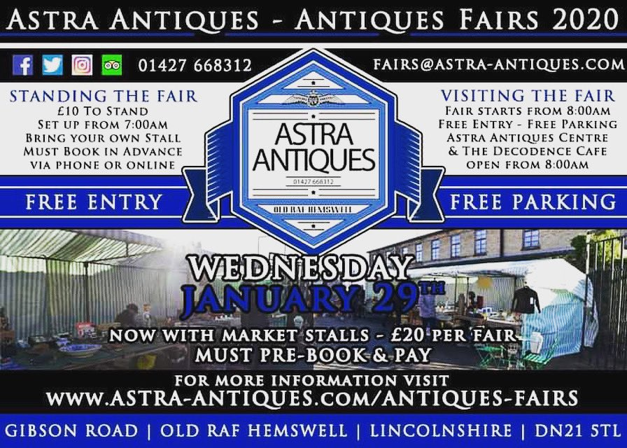 It's nearly time for our first outdoor antiques fair of the year. There are still a few spaces left if you wish to stand so please get in touch. We look forward to seeing you. #astrafairs #astraantiquescentre #hemswell #lincolnshire #antiquesfairs #antiquesdealers #collectors<br>http://pic.twitter.com/fg0R3xQTPZ