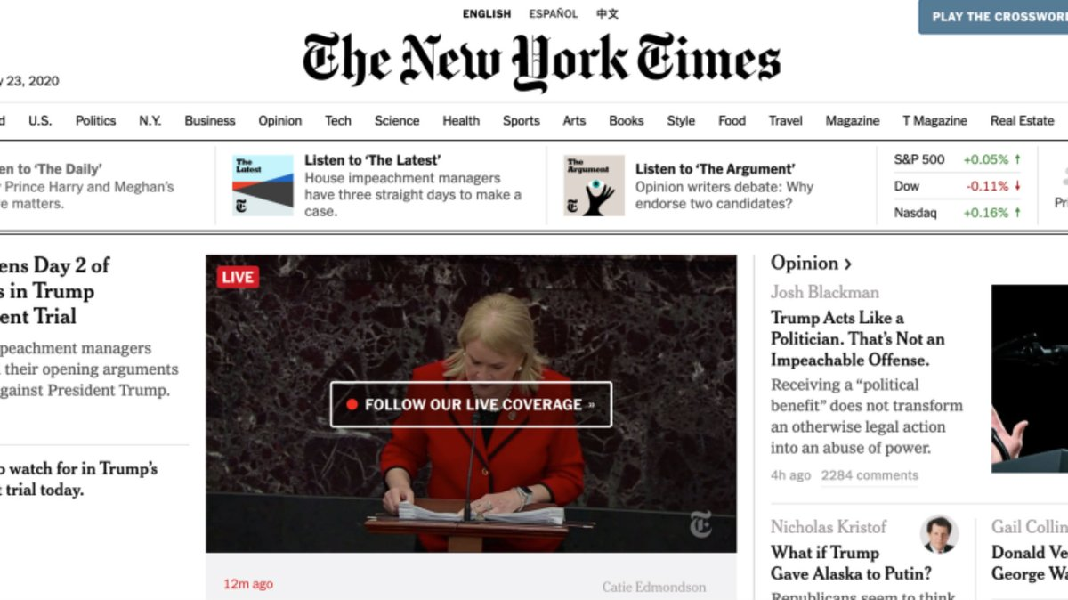 We just noticed a funny, insignificant detail about the media's impeachment trial coverage bit.ly/36kCJ1S