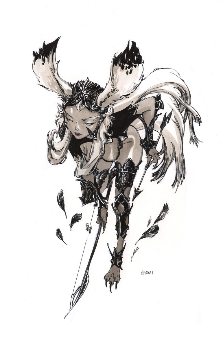Have to post this ink drawing of mine because @EpicNameBro  is streaming a FF12 playthrough and Fran is the best!  ?