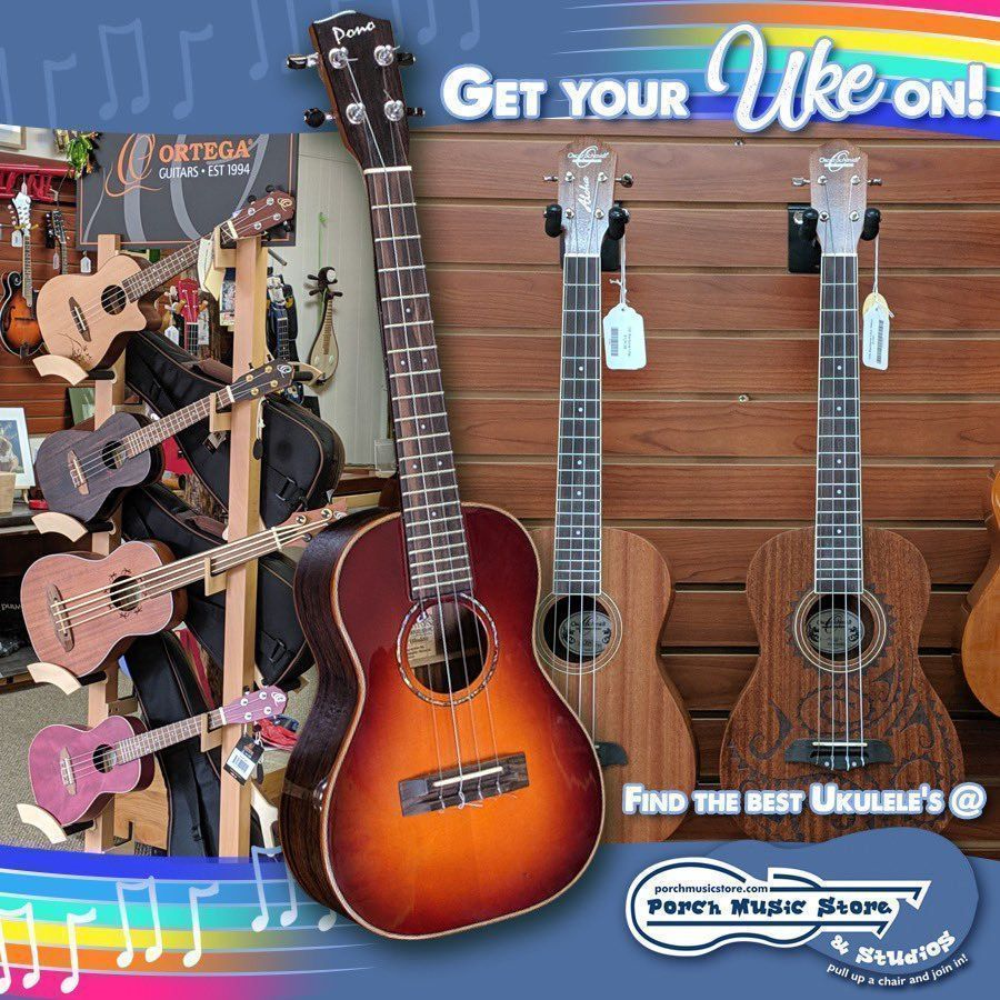 Come and check out the selection of Ukuleles at Porch Music Store located at 409-411 13th Street in downtown Franklin PA. If you've always wanted to play a Ukulele and don't know how, sign up for music lessons right on our website:  http:// porchmusicstore.com      #musicstore #ukuleles<br>http://pic.twitter.com/j7UIXfafGv