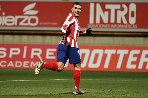 Angel Correa, pencetak satu-satunya gol bagi Atletico Madrid saat bersua Leonesa di babak 16 besar Copa del Rey. (Twitter/@OptaJose)