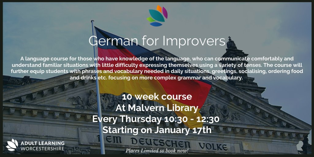 Brush up on your German with our German for Improvers course at Malvern Library!  For more information and to book -> https://rebrand.ly/German-Improvers-Malvern1…  #AdultLearning #Worcestershire #German #Malvern #SpeakGerman #GearmanSpeaking #GermanLessons #GermanClass #LearnGerman #GermanLanguagepic.twitter.com/8eW9e1wmCI