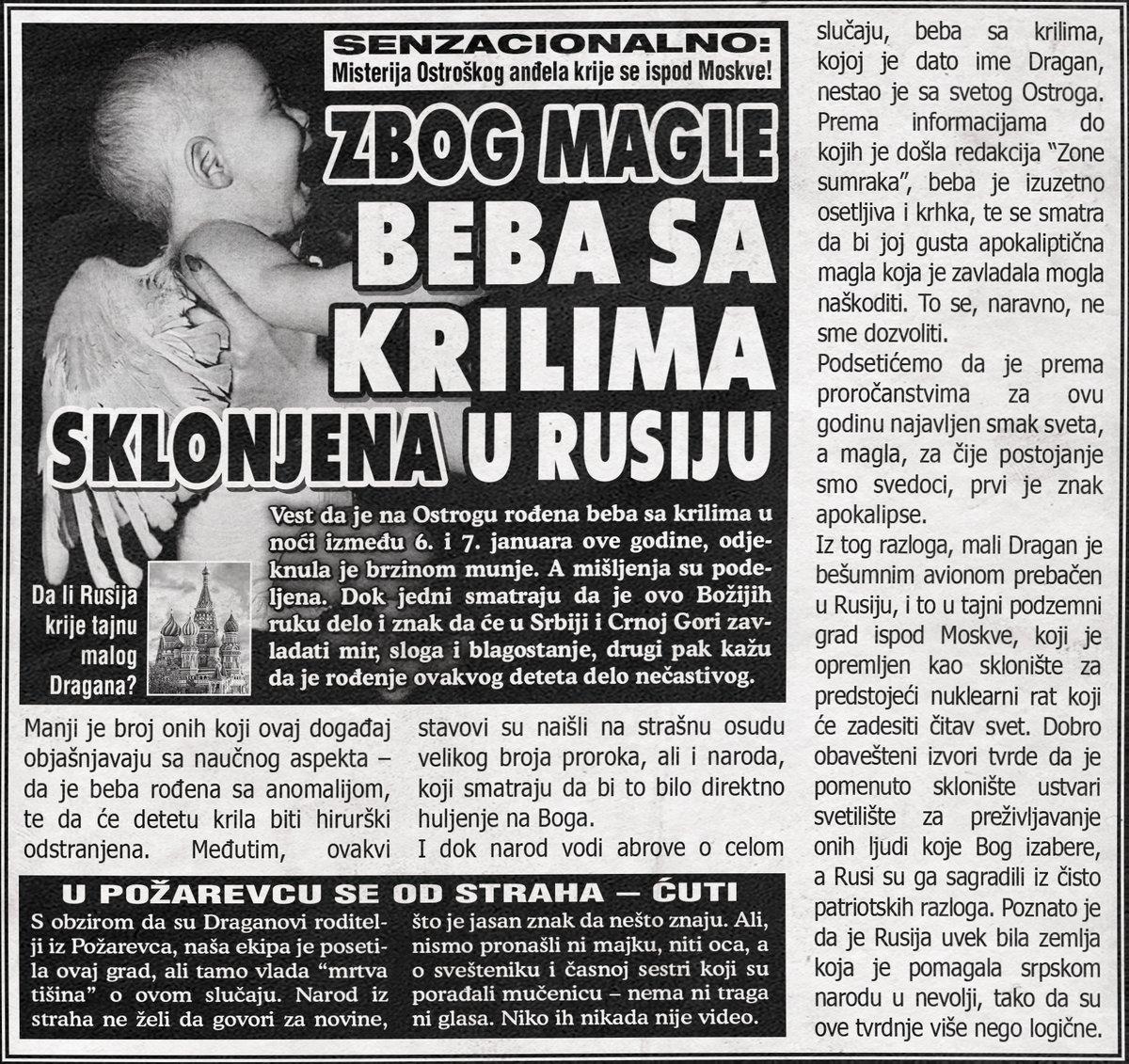 Beba sa krilima sklonjena u Rusiju