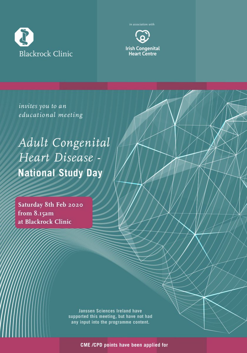 Delighted to announce our Adult Congenital Heart Study Day in Blackrock Clinic on 8th Feb!! Check out the programme for more info & don't forget to register...