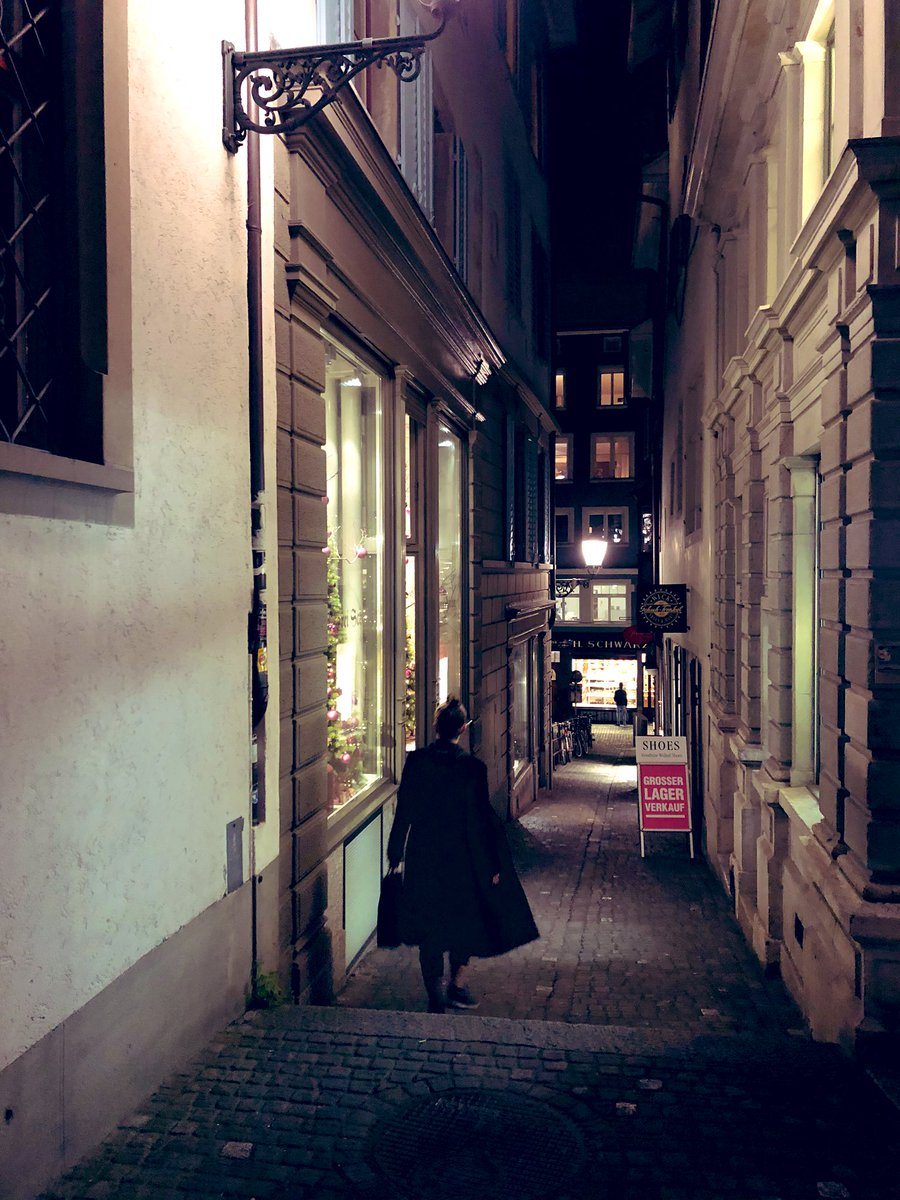 Jane, walking around beautiful Zurich with all her friends.