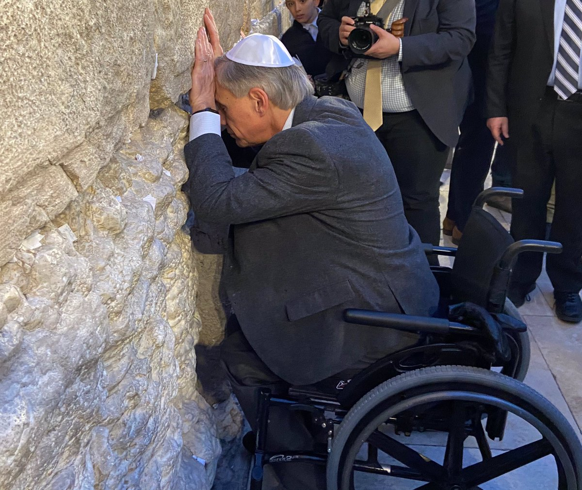 Today I prayed at the Western Wall in Jerusalem that God will continue to bless Israel and that God continue to strengthen the bond between Texas and Israel. May peace and prosperity continue to bless our two peoples.